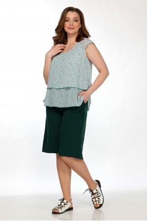 Комплект 2155 бирюза, блузка 5100, шорты 4047