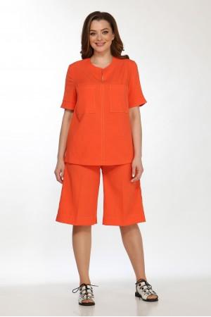Комплект 2158 оранж, блузка 5102, шорты 4049