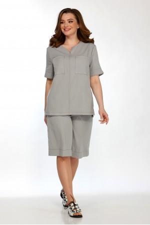 Комплект 2158 серый, блузка 5102, шорты 4049