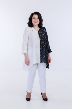 Блузка бело-синяя