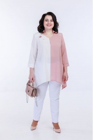 Блузка 5034 бело-пудра